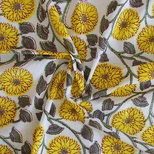 Indian Hand Block Print Yellow Floral 100% Cotton Women Dress Craft Fabric D-34