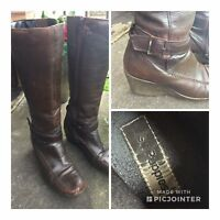 Hush Puppies Brown Knee High Leather Boots Size 5 Winter Buckle Wedge