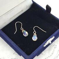 VINTAGE Glass Crystal Earrings Pierced Silver Tone Hook Faceted Teardrop Deco