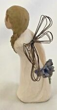 "Willow Tree 5"" Standing THANK YOU Angel Holding Blue Flowers Figurine"