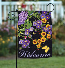 Toland Butterfly Vineyard 12.5 x 18 Colorful Purple Flower Welcome Garden Flag