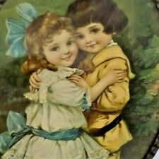 "Nice Antique Victorian 9"" German Oval Chimney Flue Cover Children Hugging"