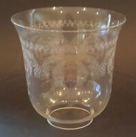 Clear etched glass vintage Art Deco antique lamp / light shade