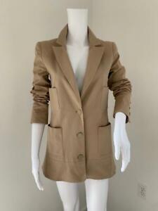 CHANEL Tan Cotton Blend Twill 4 Pocket Logo'd Button Blazer Jacket Sz 38 US 6