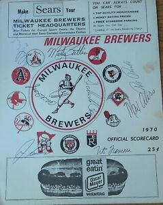 1970 Milwaukee Brewer Scorecard with Autographs Al Downing