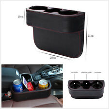Black Microfiber Leather Car Seat Gap Inserted 2-Cup Holder Drink Bottle Storage