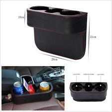 Black Microfiber Leather Car Seat Gap Inserted 2-Cup Holder Drink Bottle Storage