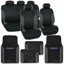 "13pc Seat Cover & Floor Mats for Car Black/Charcoal w/ Vinyl Trim Mats ""Bucatti"""