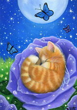 Orange kitten cat fairy rose butterflies moon fantasy OE aceo print of painting