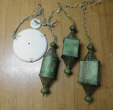 Unusual Mid Century Vintage Ceiling 3 Hanging Swag Metal  Lattice Pendant Lamp