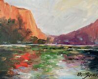 Original Oil Painting IMPRESSIONISM LANDSCAPE RIVER COLORIST MODERNIST ART