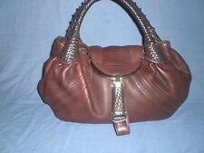 Authentic FENDI SPY BAG 18 x 10 Chocolate Brown Expresso Nappa Leather Satchel