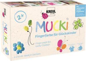 Kreul MUCKI Fingerfarbe Glückskinder 6er Set 50 ml Bastelfarbe Malfarbe Farbe