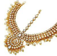 Indian Wedding Bridal Pearl Gold Kundan Matha Patti Head Maang Tikka Jewelry