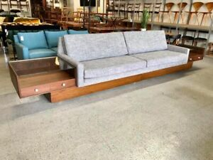 mid century modern restored 14 foot platform sofa with built-in end tables