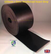 STRISCIA in gomma piena-larghezza 3.0mm x 120mm 1m * tagliati a misura Liscio Nero 3mm RR18