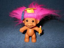 "Russ 3 1/2"" Graduation Troll Doll Pink Hair Brown Eyes With Cap & Pencil - Nice"