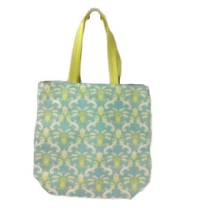 Tommy Bahama Pineapple Print Canvas Tote Bag Blue Green