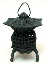 Large Cast Iron Pagoda  Lantern with Handle Candle or Tealight Patio Decor