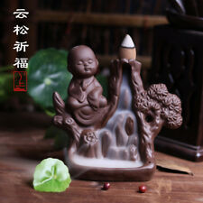 Ceramic Buddhist Buddha Smoke Backflow Cone Holder Incense Burner & 7 CONES