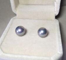 9-10mm Natural Gray Akoya Freshwater Pearl Silver Stud Earring