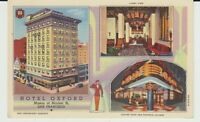 Multiview, Hotel Oxford,, San Francisco,  CA,  Linen Postcard