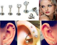 New 16G Gem Round Tragus Lip Ring Ear Stud Earring Cartilage Body Piercing ~
