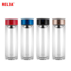 RELEA Double Wall Glass Water Bottle with Strainer, 10 oz (320ml)