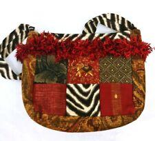 Womens Animal Print Purse Hand Bag Multi Zebra Upholster Patchwork Fringe Accent