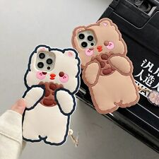 Little Bear Eating Biscuit Cute Phone Case+Pendant for iPhone12/11 Pro/XS Max/8G