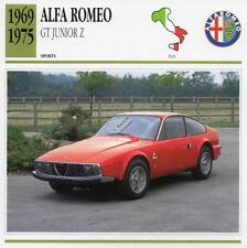 1969-1975 ALFA ROMEO GT JUNIOR Z Sports Classic Car Photo/Info Maxi Card