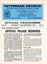 Tottenham V Crystal Palace réserves programme 22.11.1969
