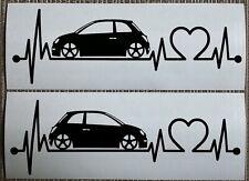 Fiat 500 Aufkleber • Sticker • Herzlinie • Dekor • Seitenstreifen • Decal