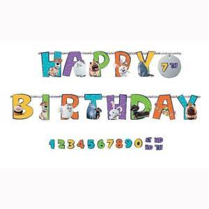 Secret Life of Pets 2 Add an Age Jumbo Letter Happy Birthday Banner 10 Feet Long