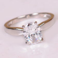Real 14KT White Gold 2.00Ct Ravishing Oval Cut Solitaire Anniversary Ring