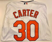 Cleveland Indians Joe Carter White Button up Jersey Size XL With Chief Wahoo