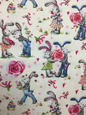 Natural Love Bunny Rabbit 100% Printed Cotton Fabric. 150gsm craft quilting