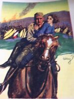 Ephemera 1936 Book Plate 8x5.5 Inch Man Rescues Woman From The African Natives