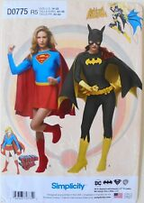 Simplicity 1036 Misses Super Girl Bat Woman Costume Sewing Pattern Sz 14-22