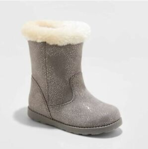 Toddler Girls' Karley Faux Fur Shearling Boots Gray Glitter Sparkle Dots