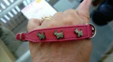 """Puppy Collar 10"""" max neck X Small Dog Pink Silver Westie Terrier Stud Detail"""