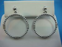 14K WHITE GOLD BEADED DANGLE CIRCLE EARRINGS WITH GENUINE DIAMONDS, 5.6 GRAMS
