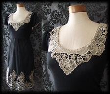 Gothic Black Lace Cream Bib Detail PANDORA Tea Dress 12 14 Vintage Victorian