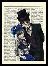 Sebastian & Ciel Black Butler Dictionary Art Anime Circus Poster Kuroshitsuji
