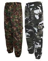 Mens Army Combat Cargo Camo Camouflage Jogging fleece Bottoms Trousers  S- XXL