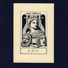 Exlibris Bookplate * OSKAR HERFURTH * Büste Masken Lyra Masks Antique Bust