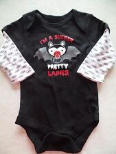 NEW baby boy HALLOWEEN SNAP OUTFIT shirt ROMPER twins BAT pretty lady 0-3 MONTHS