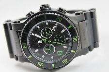 Renato Men's T-Rex Grand Diver Watch, Ronda 5040 D, Black with Green Accents