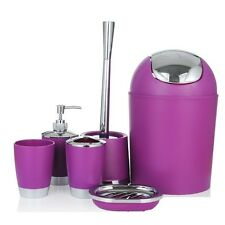 Bathroom Accessory 6 Piece Set Soap Dish Toothbrush Holder Dispenser Tumbler Bin