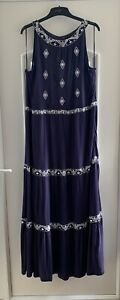 M&Co Size 22 Maxi Dress Navy Blue Smart Occasion Holiday Embroidery 152cm Long